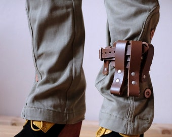Unisex Leather Boot Garter - Brown - steampunk - burning man - festivals - mad max, Please read Description for size