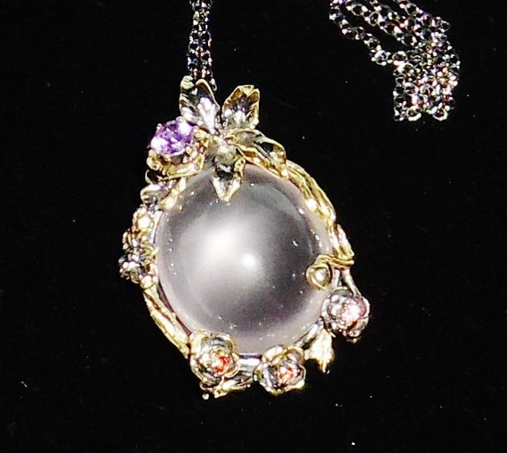 NATURAL 126TCW Pink Quartz, purple Amethyst, Garnet gemstones, 14kt gold, Black Rhodium Pendant, Chain