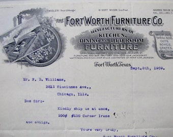 1909 Antique Fort Ft Worth Texas Furniture Co Letterhead JT Wollery Jackson Street