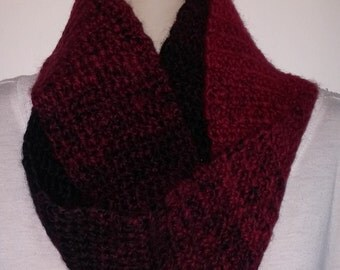 Crocheted Infinity Scarf - Red and Black