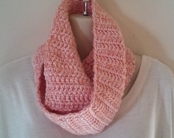 Crochet Infinity Scarf - Light Pink and Cream