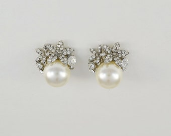 Bridal Pearl Earrings, Swarovski Crystals, Silver Tone Wedding Jewelry, Stud Earrings, Ella Earrings - Will Ship in 1-2 Business Days