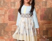 Girls Emmie Knit Bodice Dress with Sash in April Showers Quatrefoils Blue Yellow Toddler