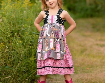Girls Apron Knot Dress Hold Your Horses Collection Toddler Infant Girls