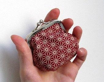 Petit Porte-monnaie en tissu origami bordeaux japonais