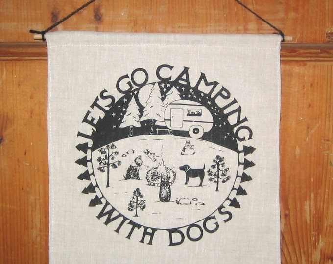 Camping Fabric Banner Wall Hanging