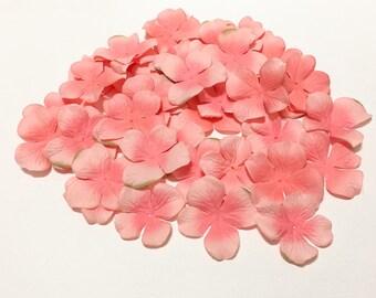 Artificial Flower Petals - 50 Jumbo Hydrangea Blossoms in CORAL PINK - Silk Flowers, Flower Crown