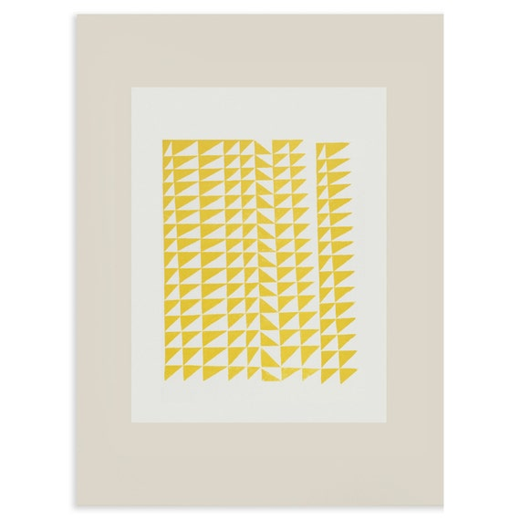 Large silkscreen print, yellow, grey abstract geometric screenprint in a modern mid century style by Emma Lawrenson