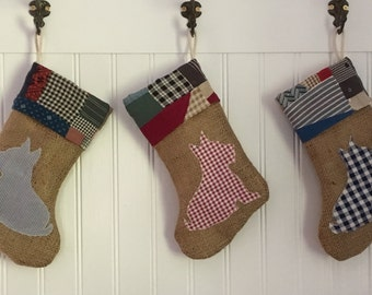 Dog Christmas Stocking Burlap with Quilt Cuff Cabin Country Pet Farmhouse Scotty