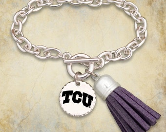 TCU Horned Frogs Fringe Toggle Bracelet