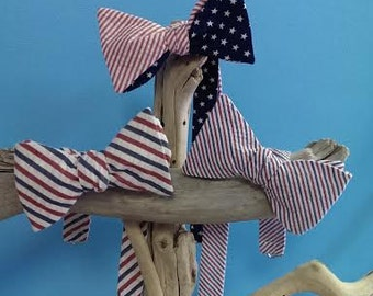 Patriotic Bow Ties for Men, 4th of July, Summer Bow Ties, Red, White and Blue, Stars and Stripes, Adjustable Bow Ties