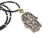 Hamsa Hand of Fatima Rhinestone Necklace Black Onyx Stone Gemstone Statement Gypsy Hippie Bohemian Artisan - One Of A Kind