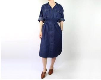 VINTAGE Denim Shirt Dress 1970s Dark Blue