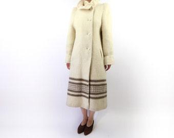 VINTAGE Blanket Coat Cream Fuzzy Wool High Collar