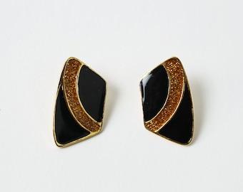 VINTAGE 1970s Earrings Black Copper Sparkle Disco Pierced
