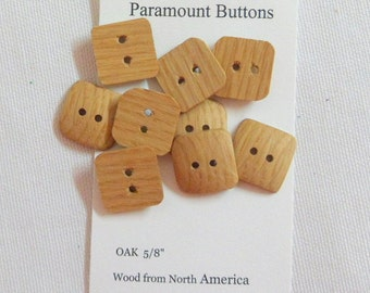 "Wood Buttons Hand Crafted Square Wood Buttons Oak Buttons  5/8""  Diameter 9 Square Buttons Sewing Supplies Knitting Supplies"