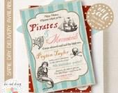 Pirate and Mermaid Invitation, Pirate Mermaid Party, Mermaid Pirate Party, Mermaid and Pirate Party, Pirate Birthday, Mermaid Birthday