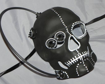 Black and White Full Face Skeleton Mask with Steampunk Detailing - Steampunk Mask