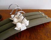 Padded Hangers, Olive Burberry Wool Padded Hangers, Adult Burberry Wool Padded Hangers w/ Natural Organic Ribbon   Bone Buttons (Set of 3)