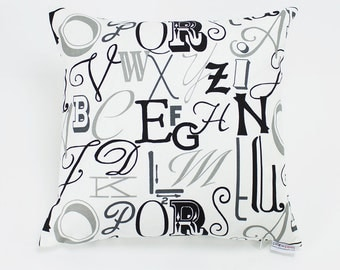 Black and Gray Alphabet Letter Throw Pillow Cover - 16 inch