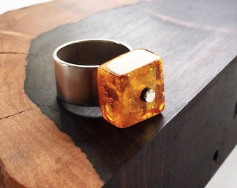 Baltic Amber and sterling silver ring