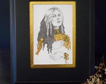 Esmerelda. Embroidered graphite portrait with semiprecious stone beads. 5 x 7.