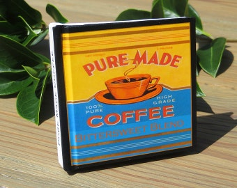 Small Blank Journal - Pure Made Coffee - Fruit Crate Art Print Cover