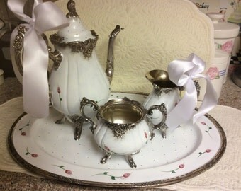 Wallace Baroque Tea Set/Custom Painted