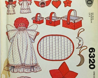 McCalls 6320 Vintage Christmas Decorations Angel Basket Star Moon Placemat Heart Ornament Tree Vintage Fabric Stuffed Uncut Sewing Pattern