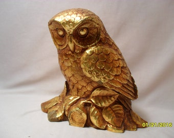 Eye Catching Bright Gold Owl Figure or Figurine
