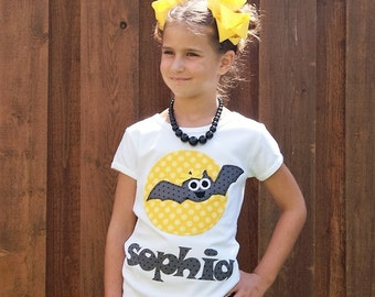 Halloween Bat Name Shirt for Girl or Boy - Personalized Bat N Moon Shirt - Sizes - 3M 6M 12M 18M 24M 2T 3T 4T 5T 6 8 10 12