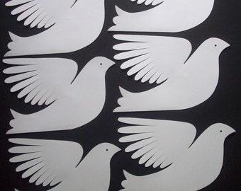 Paper Birds--Six Larger White Paper Doves