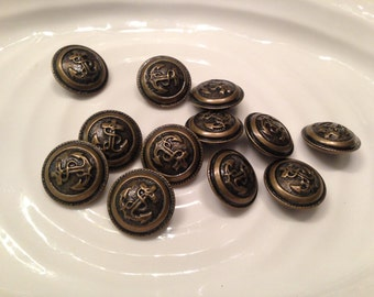 All the same - 12 vintage bronze tone metal anchor shank buttons