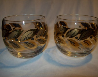 2 Vintage Glass Roly Poly Bar Glasses Gold Brown Leaf pattern Used