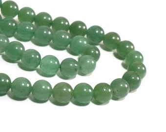 10mm green aventurine, round natural gemstone beads, full & half strands available  (1183S)