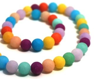 8mm matte Candy Jade, MIxed color strand, Round Gemstone beads ( aka Mountain Jade )   Item #1224G