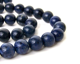 Blue Dumortierite Beads, 10mm round gemstone bead, FULL & HALF strands available (607S)