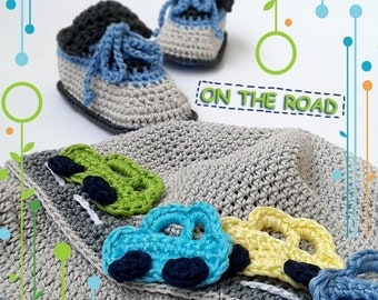 ON THE ROAD baby set crochet pattern - hat with booties. Permission to sell finished items.