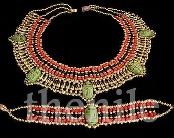 Egyptian Handcrafted Cleopatra Scarab Necklace & Bracelet Mega Sale
