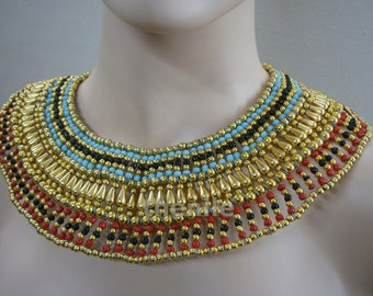 Large Egyptian Beaded Queen Cleopatra Necklace Collar Mega Sale