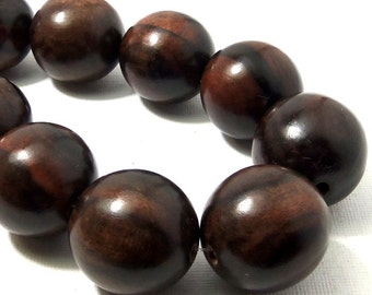 Ebony Wood Bead, 24mm - 25mm, Round, Smooth, Natural Wood Beads, Large, Big, 7.5 Inch Strand, 8pcs - ID 2190