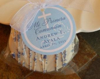 "Mi Primera Comunion Spanish 1st Communion Custom Favor Tags - For Cake Pops - Lollipops - Cookies - Catholic Party Favors - (30) 1.5"" Tags"