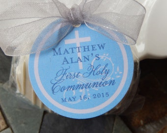 "First Holy Communion Thank You Favor Tags - For Cake Pops - Lollipops - Cookies - Party Favors - (70) 1.5"" Personalized Printed Circle Tags"