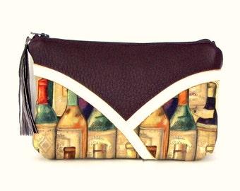 Purple Makeup Bag / Wine Gifts / Make Up Bag / Makeup Bag / Cosmetic Bag / Cosmetic Pouch / Leather Makeup Bag / Leather Make Up Bag