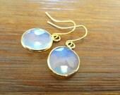 Small Gold Drop Earrings.  Opal Bezel Framed Dangle Earrings