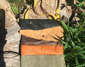 Calico Scrap Leather Bag