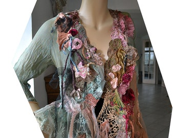 Art To Wear Feminine Silk Transparent Jacket BOUDOIR DOLL with Pale Pink Garter Marie Antoinette Lingerie Antique Millinery Fairy  Boho
