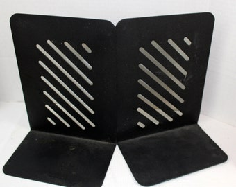 set of 2 black metal book ends office supply home decor mid century modern