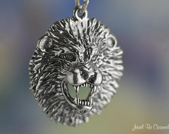 Sterling Silver Roaring Lion Head Charm Animal or Mascot Solid .925