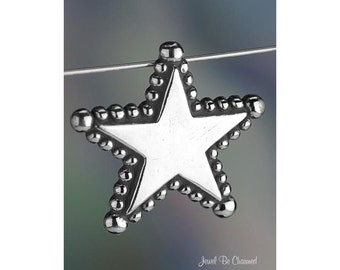 Sterling Silver Star CHARM or PENDANT Beaded Edge Stars Solid .925